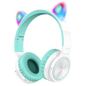 Lovnix Lucky Cat – Draadloze Bluetooth Kinderkoptelefoon -met Led Kat Oortjes – Wit/Groen